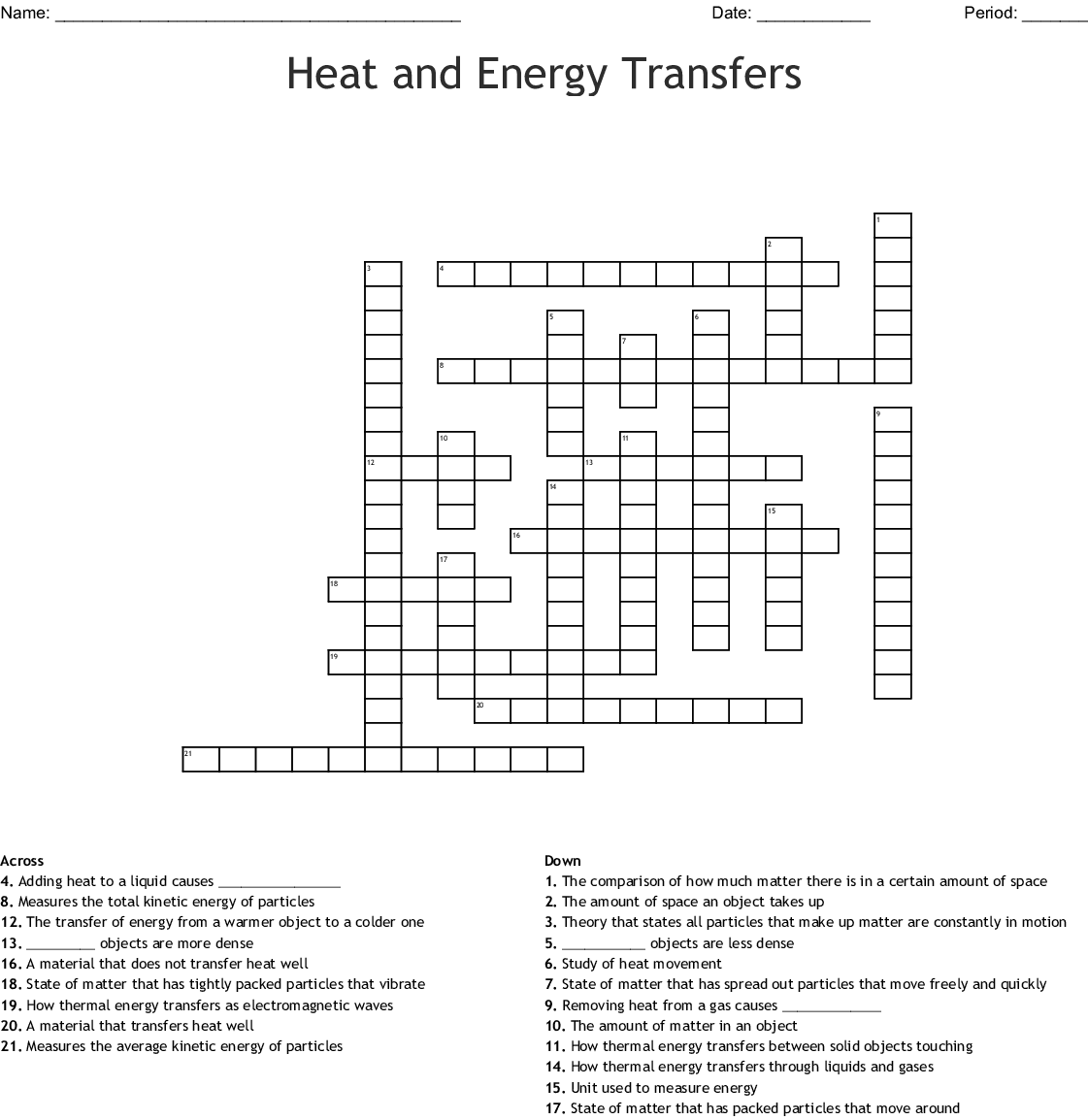 Heat Transfer Word Search