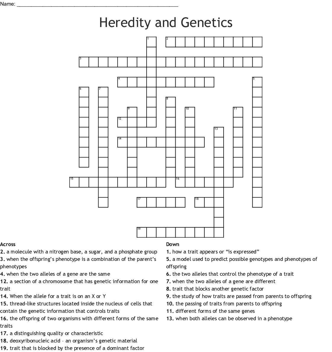 Genetics Vocabulary Crossword Puzzle