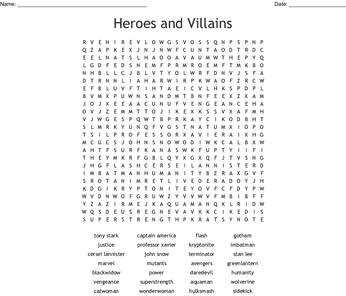 Heroes And Villains Word Search