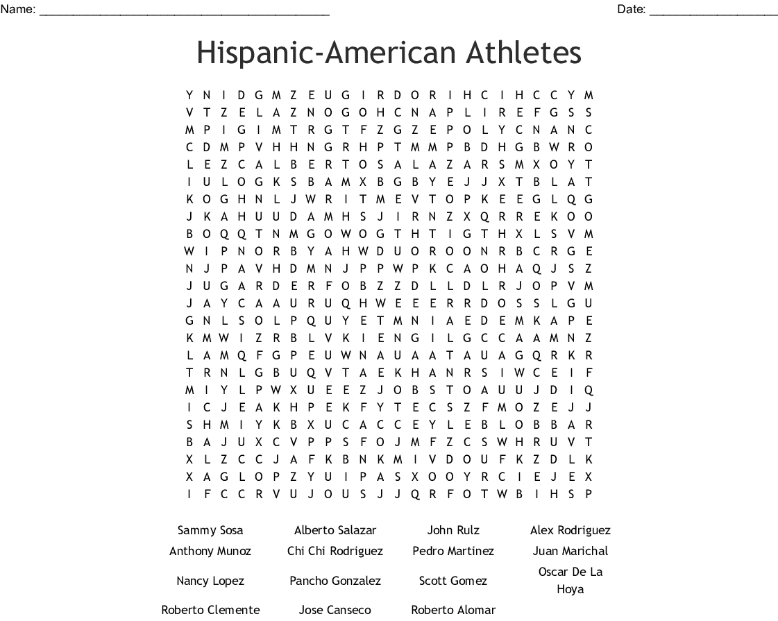 National Hispanic Heritage Month Word Search