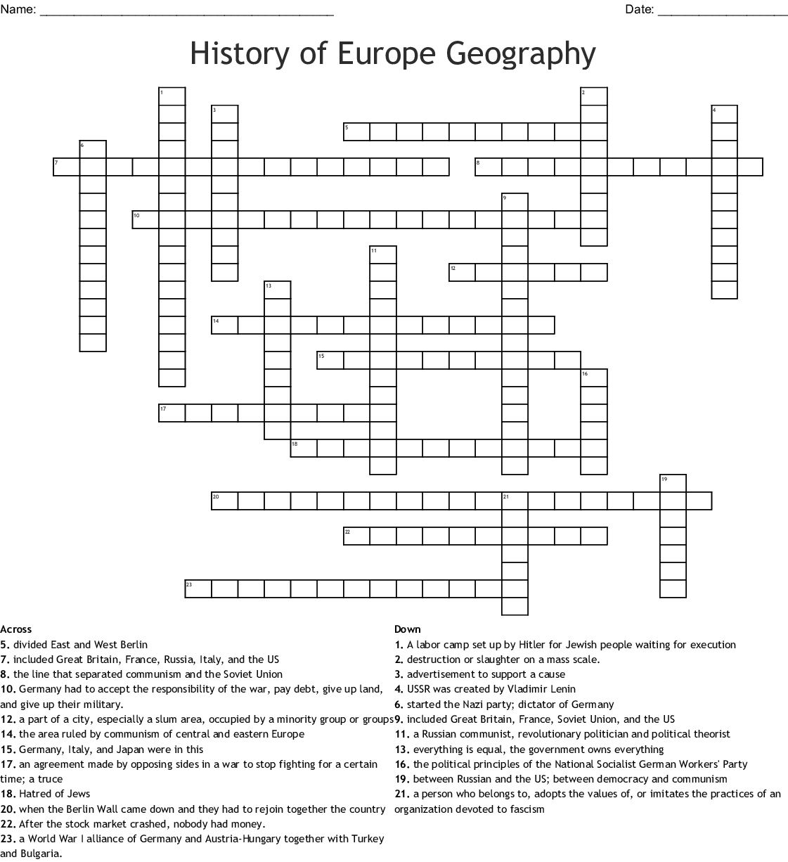 Europe Geography Crossword Puzzle Answer Key