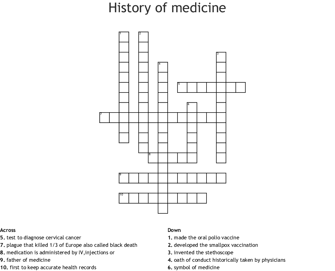 History Of Medicine Word Search Answers