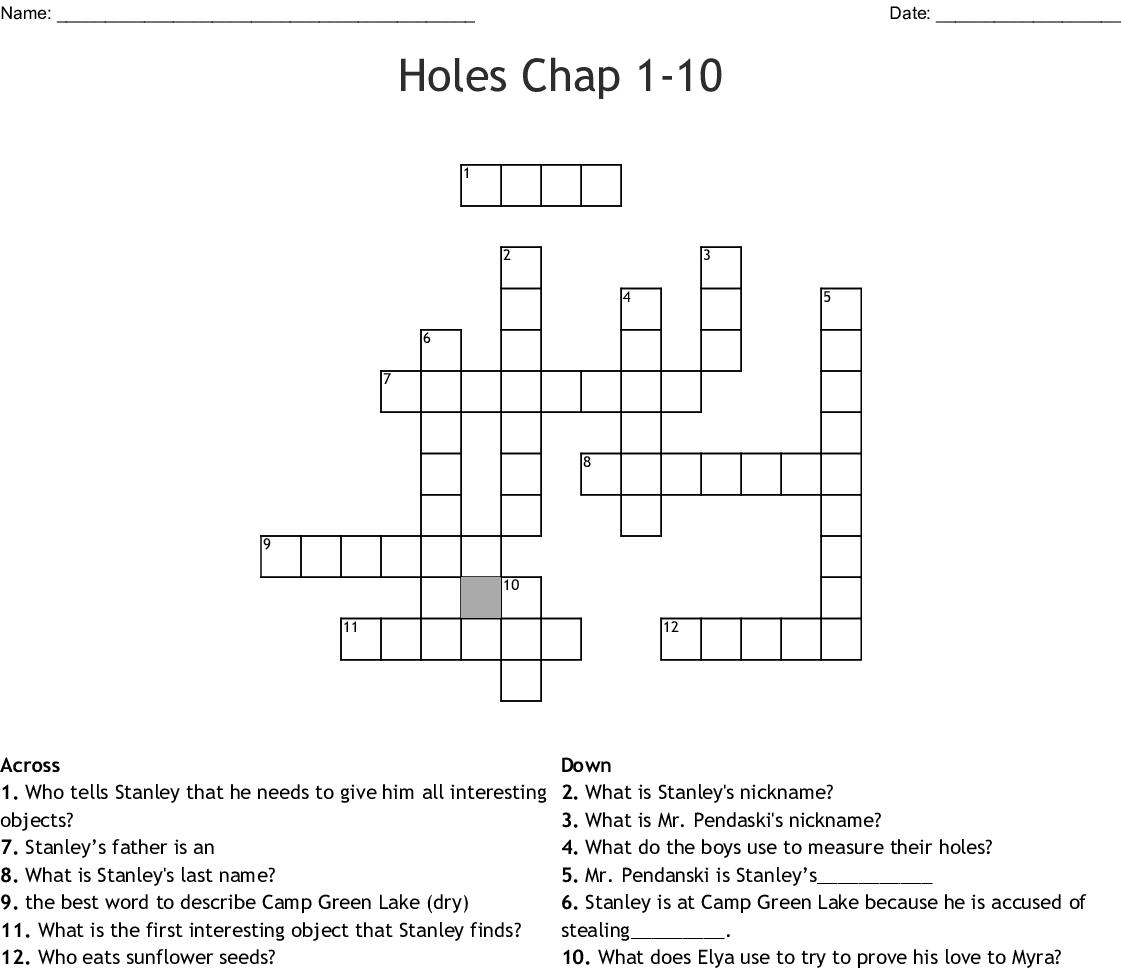 Holes Chap 1 10 Crossword