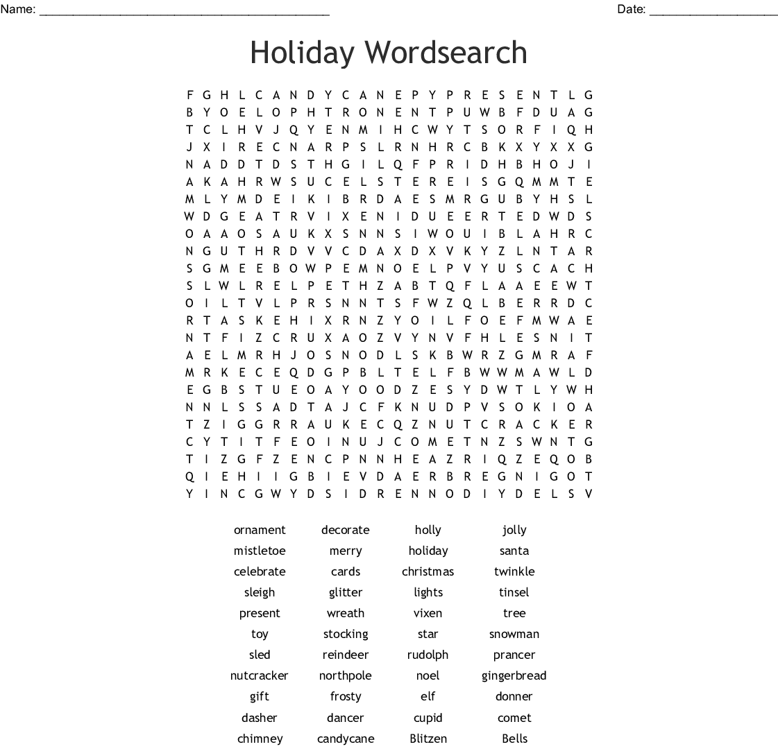 Happy Holidays Word Search