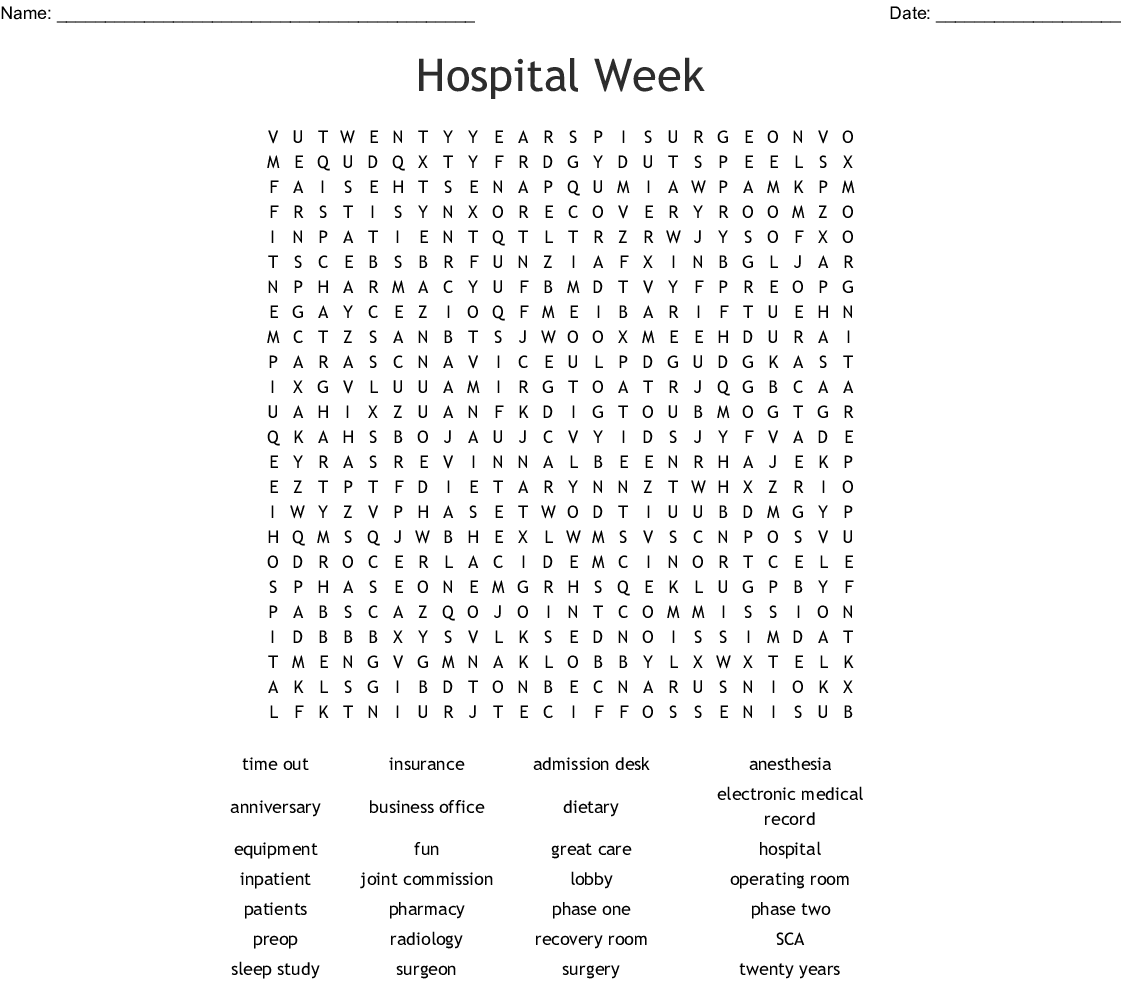 Hospital Week Word Search