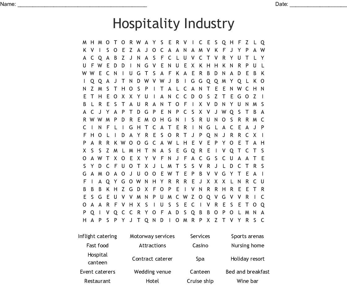 Tourism Word Search