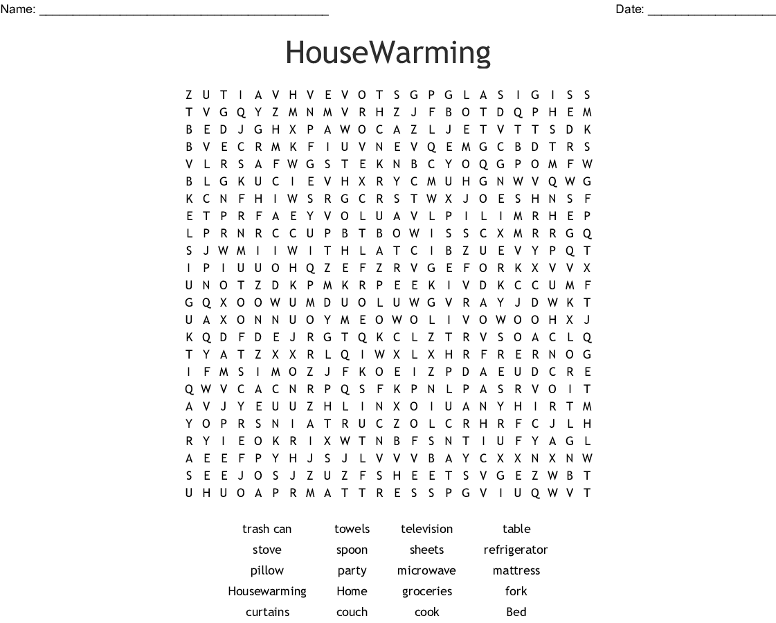 Housewarming Word Search