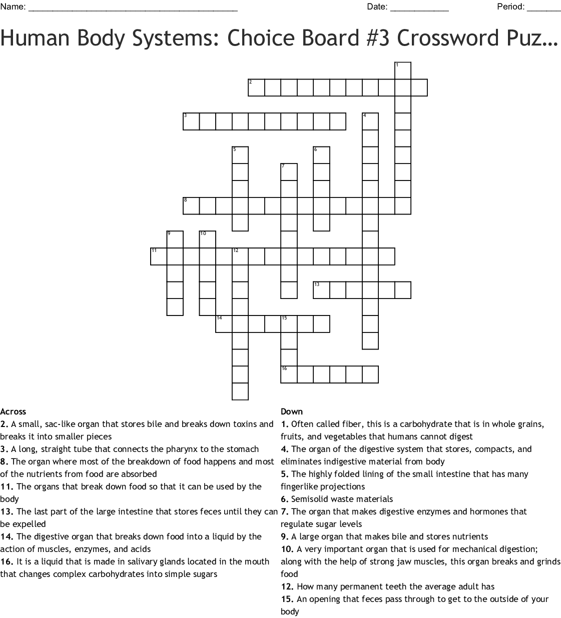 Human Body Systems Choice Board 3 Crossword Puzzle On The Digestive System Crossword