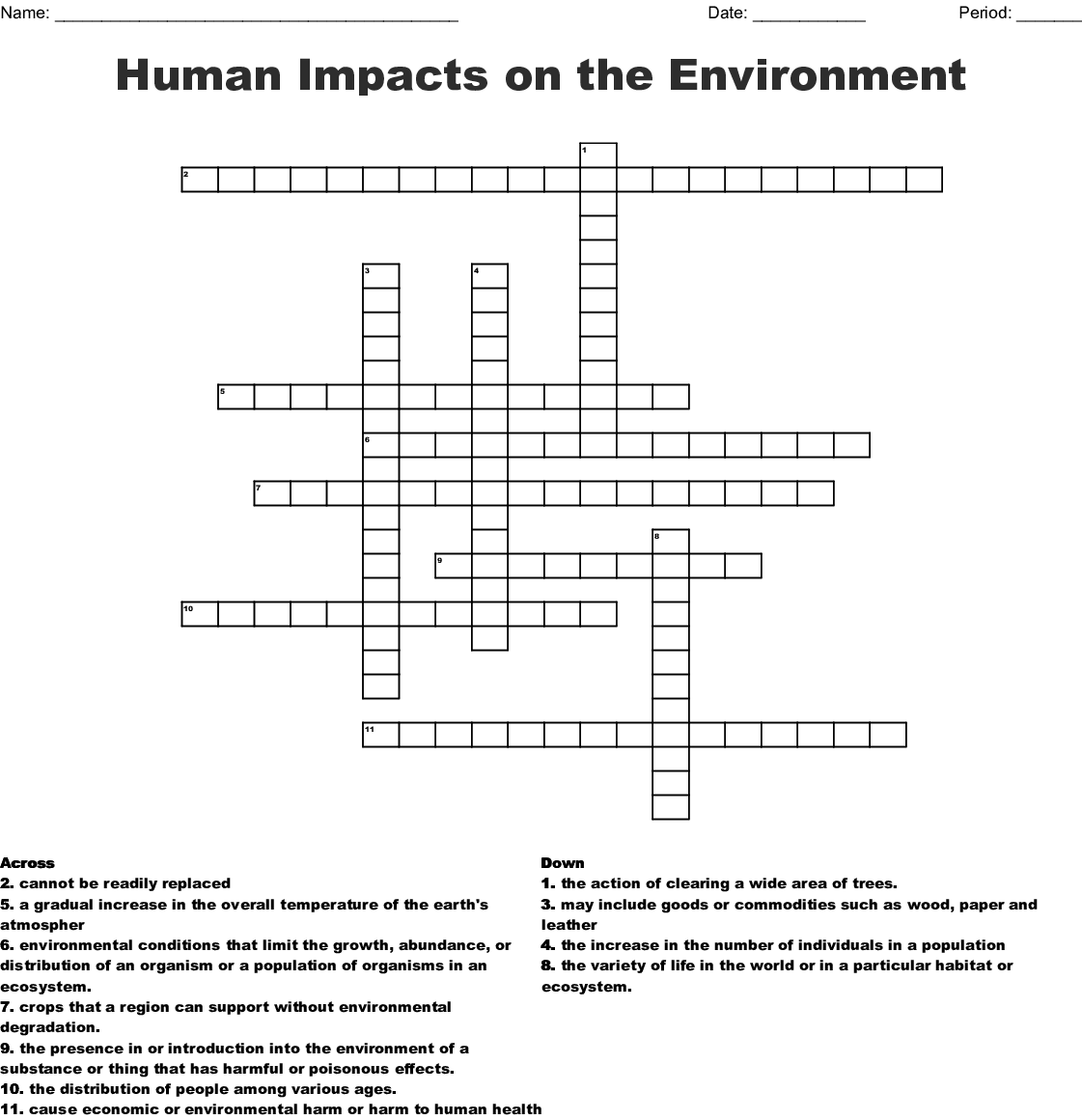 Sustainability Crossword