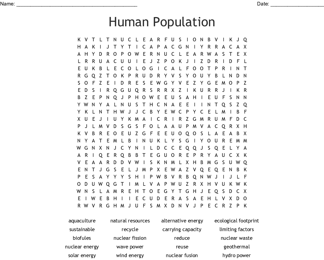 Population Geography And Mapwork Word Search