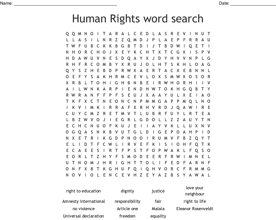 Universal Declaration Of Human Rights Worksheet