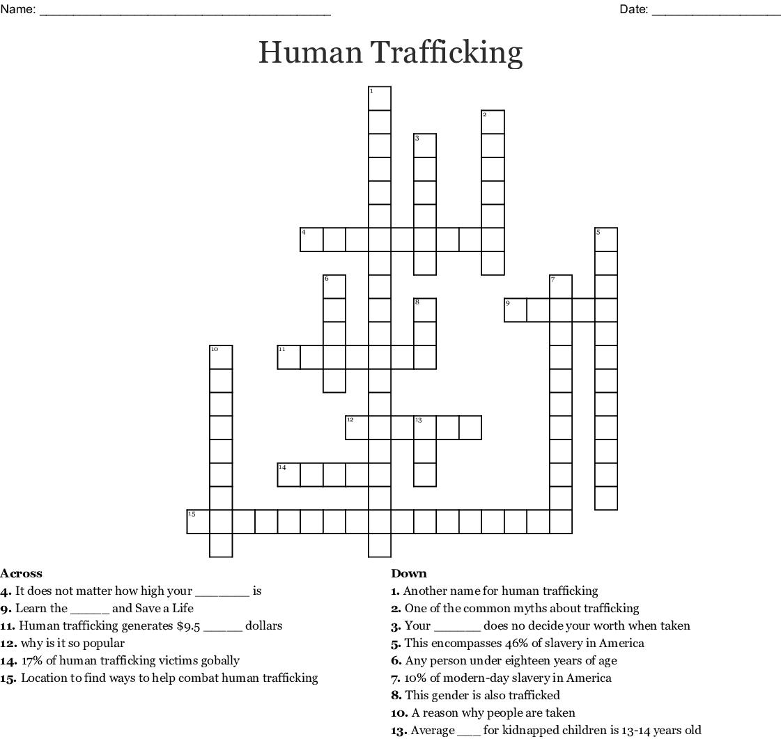 Human Trafficking Crossword