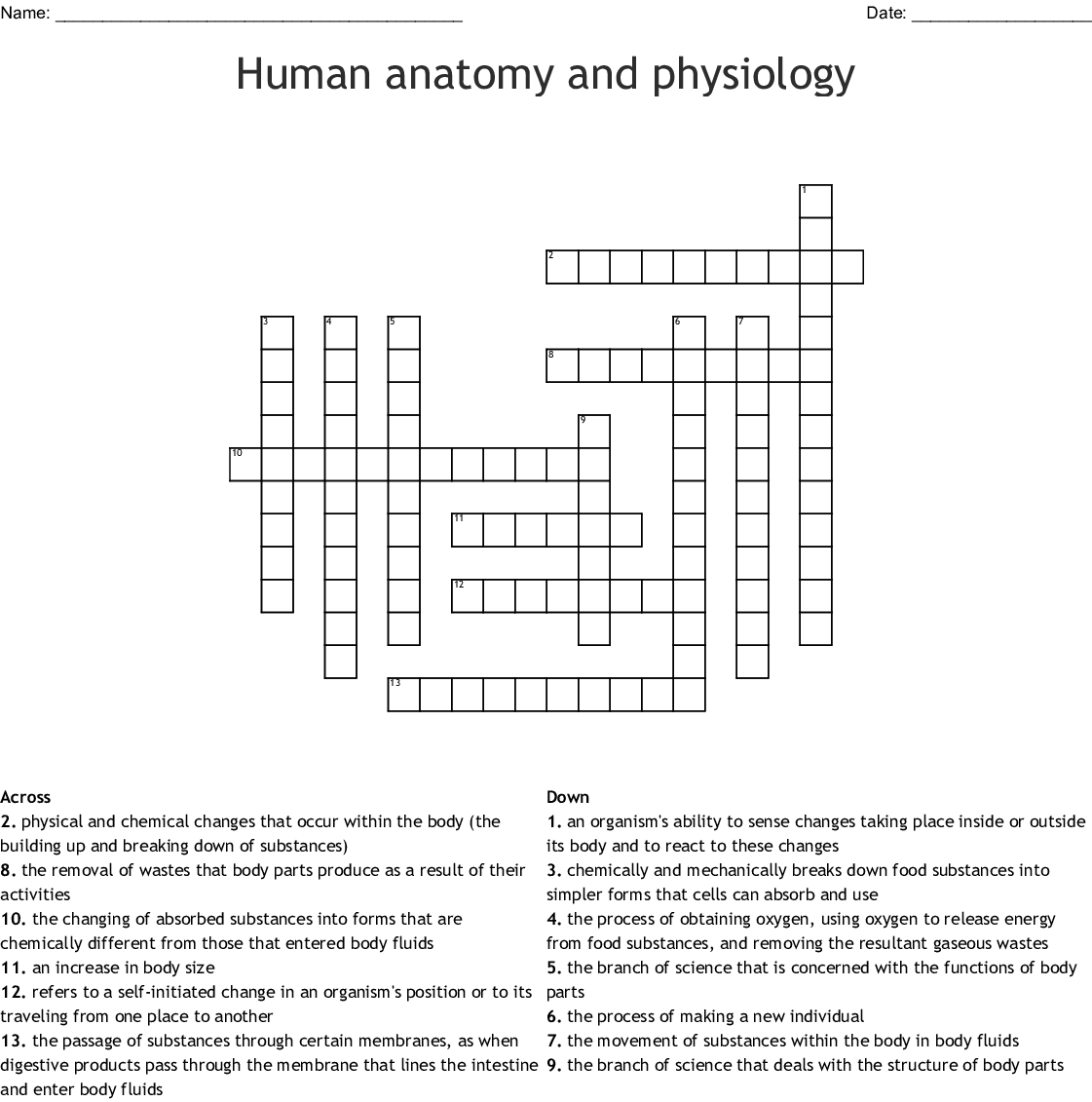 Human Anatomy And Physiology Crossword
