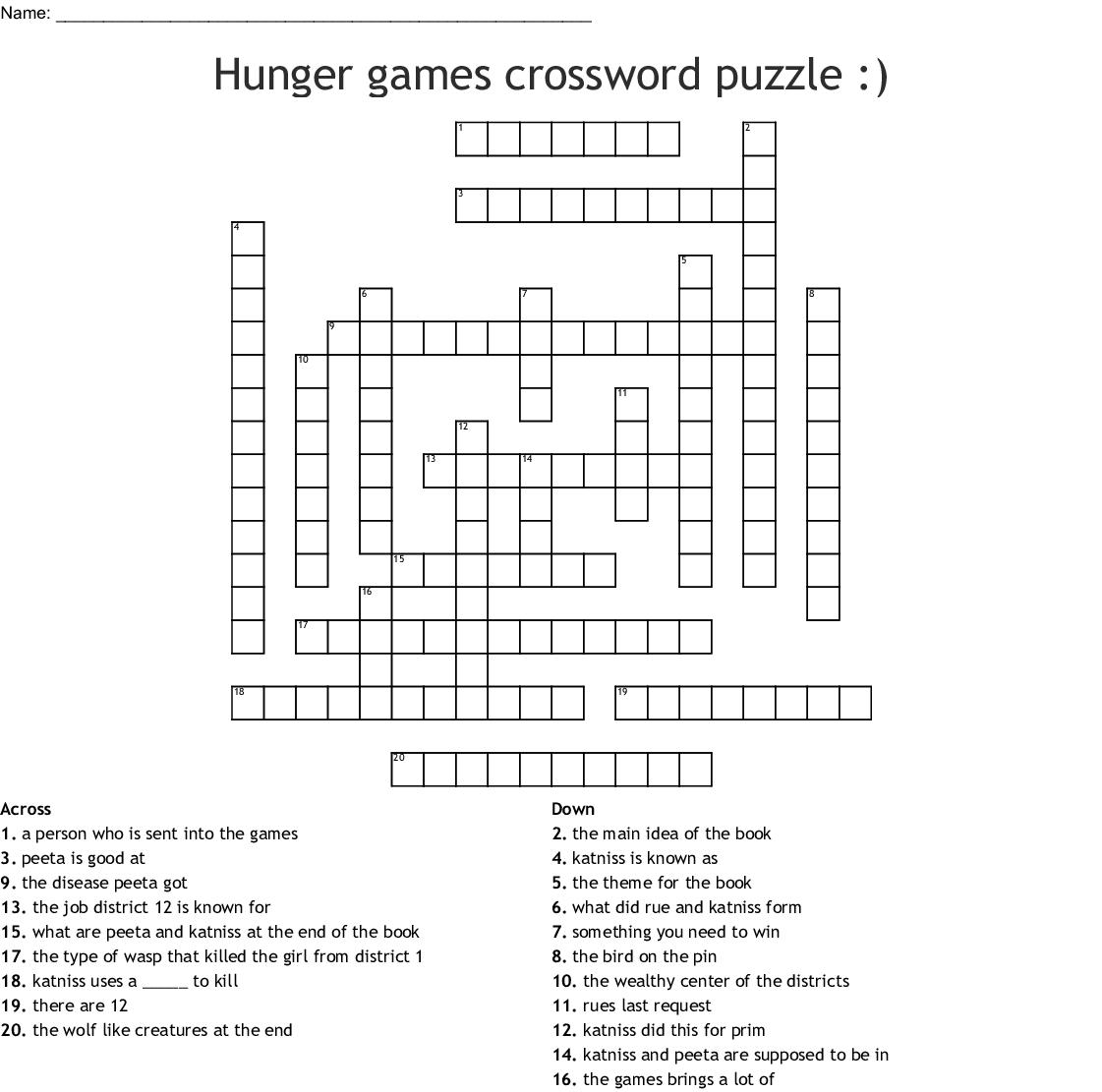 Hunger Games Crossword Puzzle Crossword