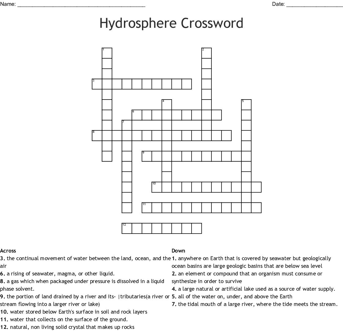 Hydrosphere Crossword