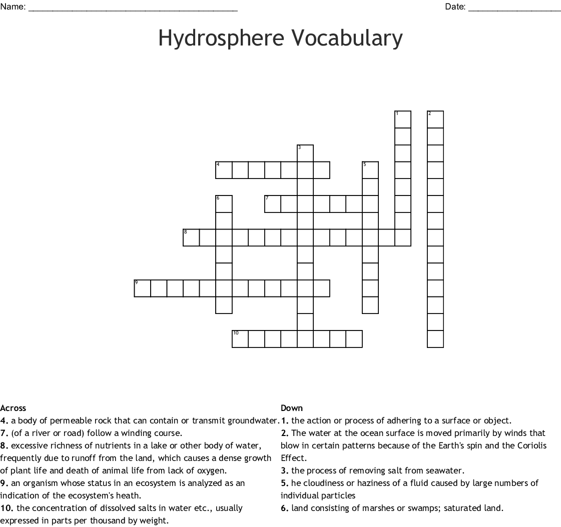 Hydrosphere Vocabulary Crossword