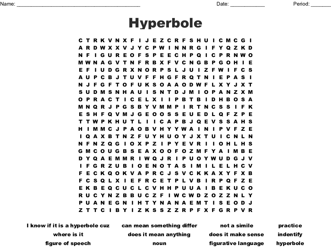 Hyperbole Word Search