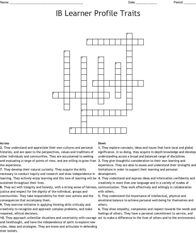 Ib Learner Profile Traits Crossword