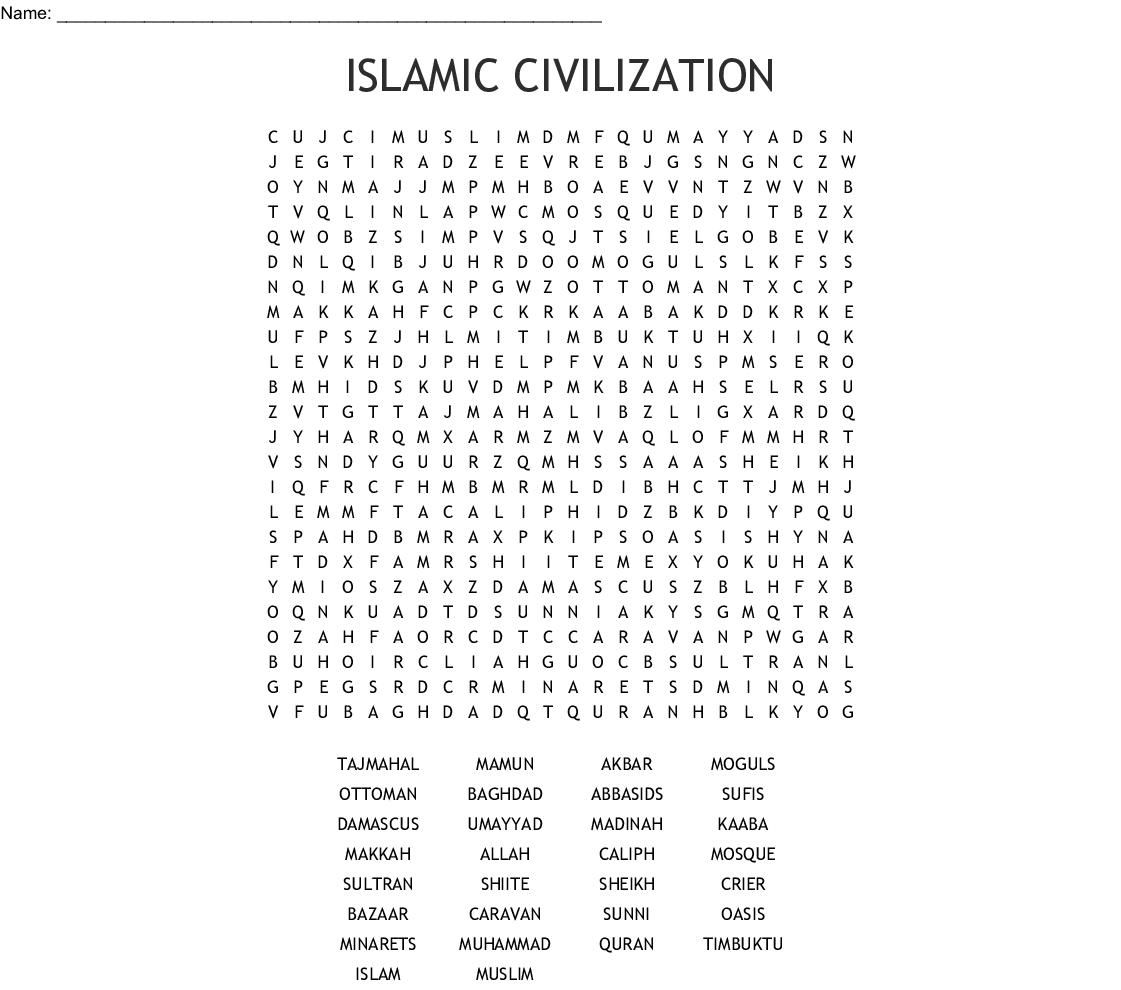 Chapter 8 Islamic Civilization Crossword