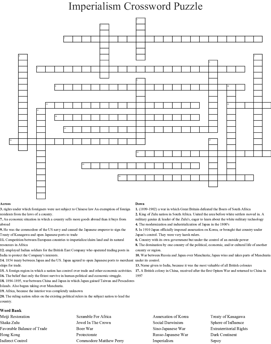 Imperialism Word Search