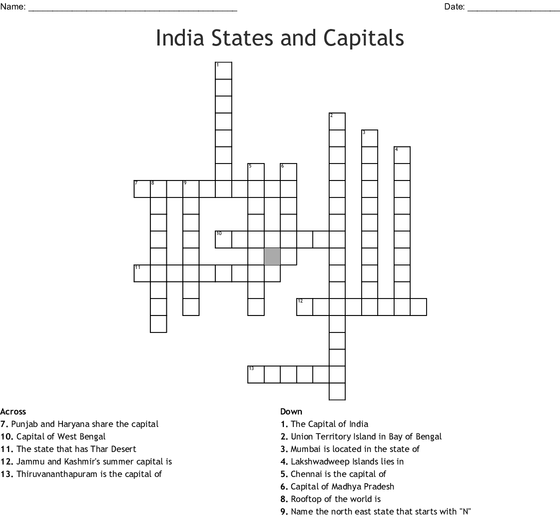 Indian States And Capitals Crossword