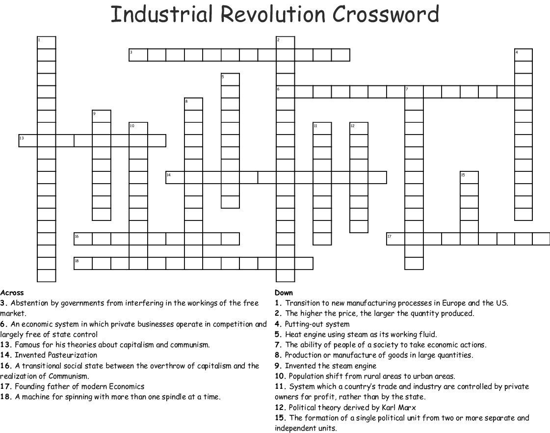 Industrial Revolution Crossword
