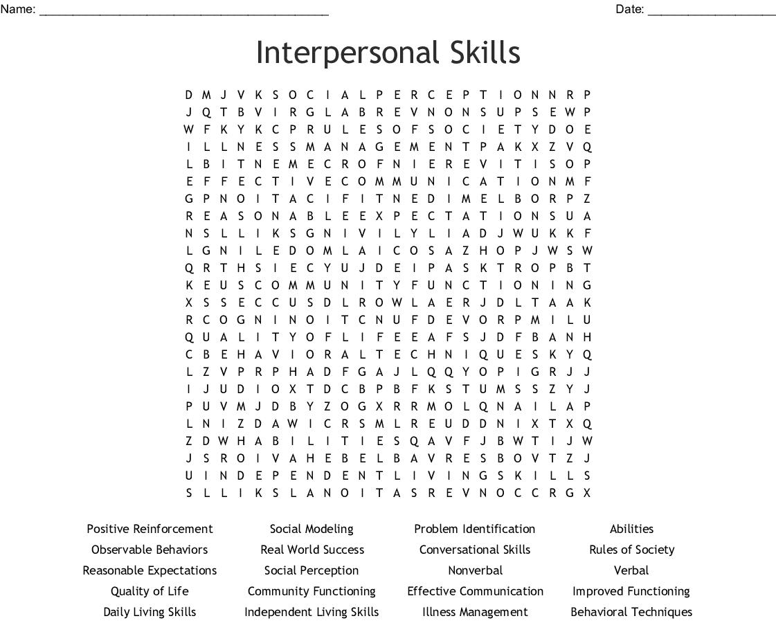 Interpersonal Skills Word Search