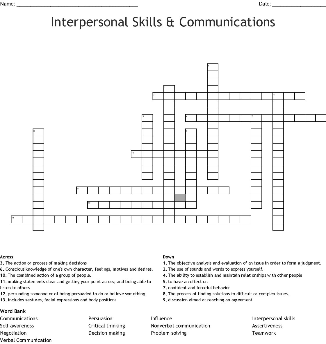 Interpersonal And Self Management Skills Word Search