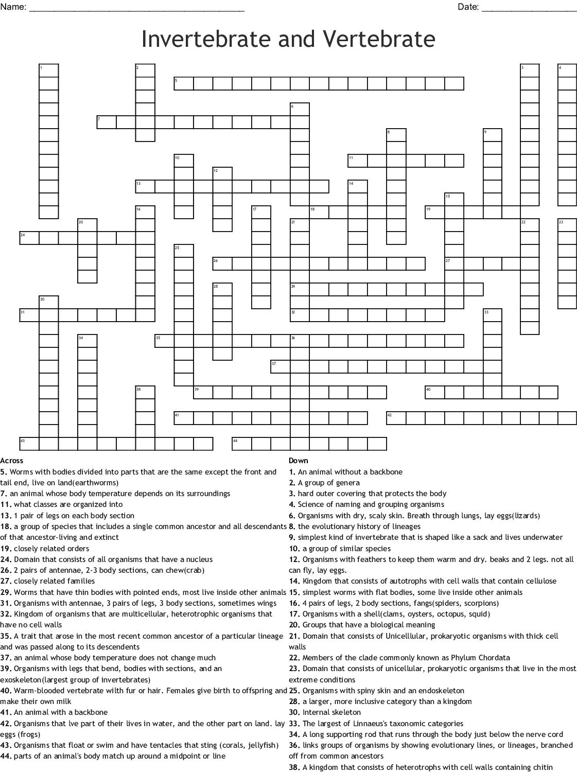 Animal Kingdom Crossword
