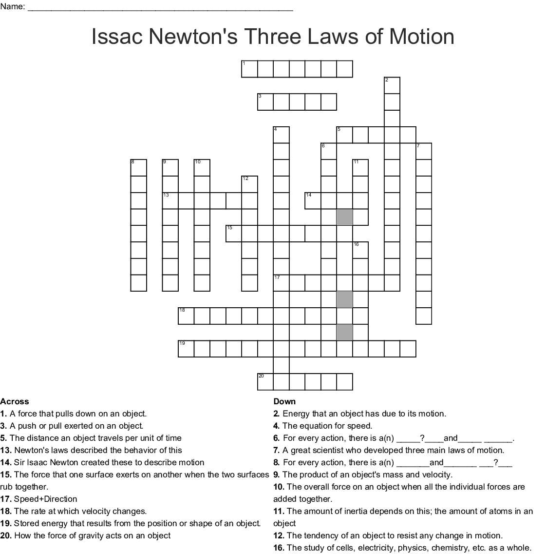 Newton S Laws Of Motion Crossword