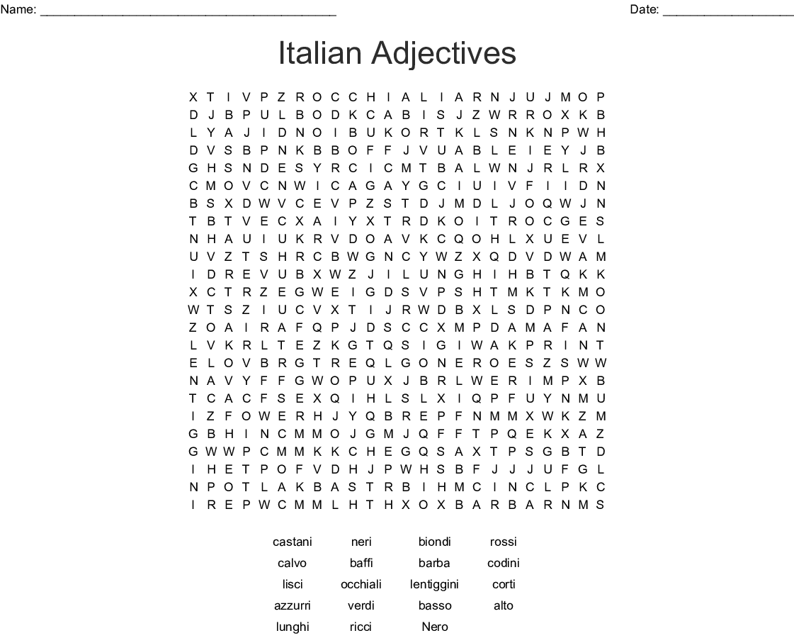 Similar To Aggettivi Word Search