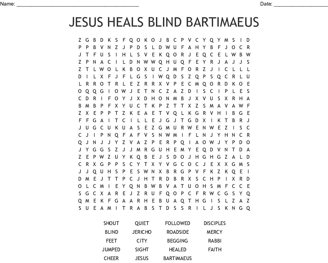 Jesus Heals The Official S Son Word Search