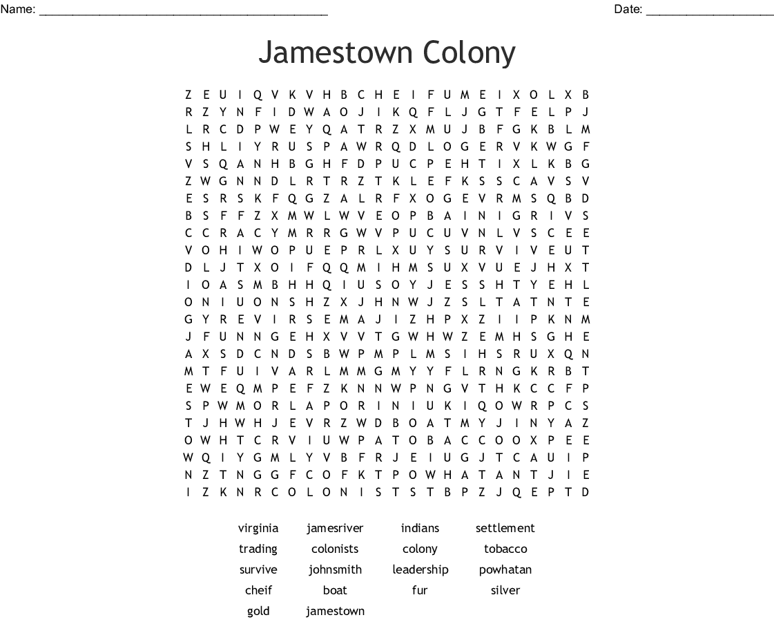 Jamestown Colony Worksheet 5th Grade