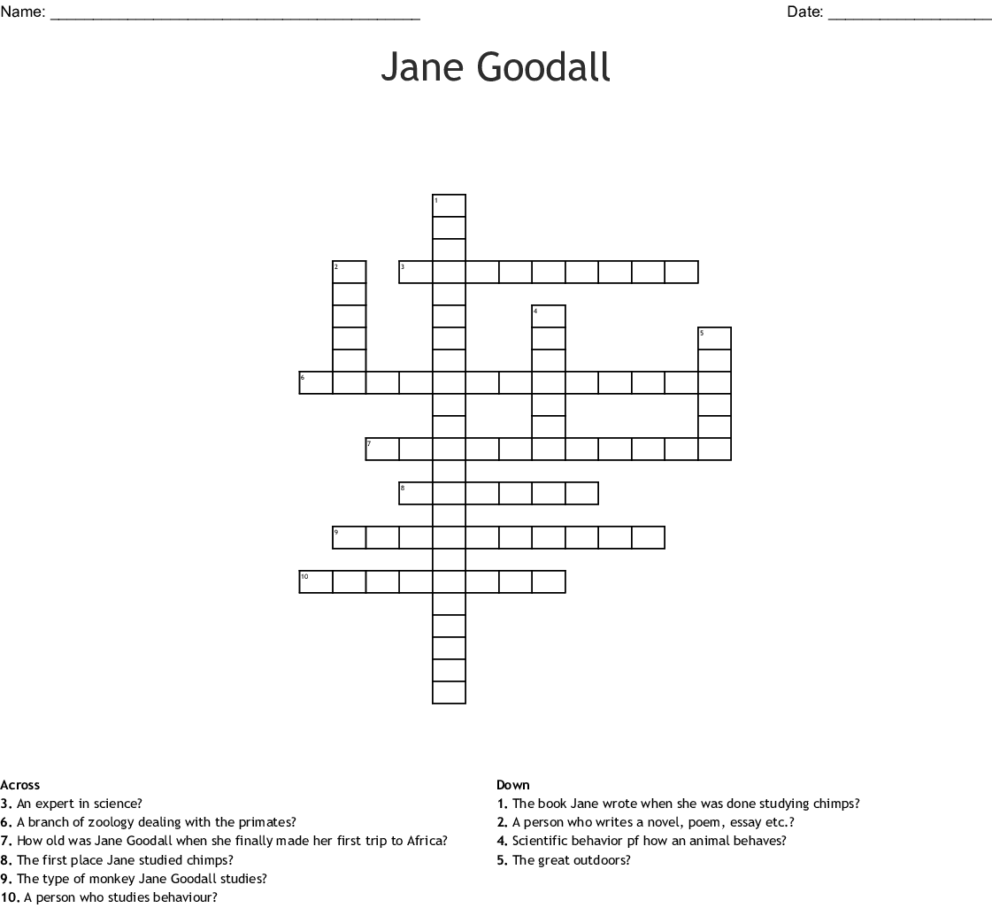 Jane Goodall Crossword