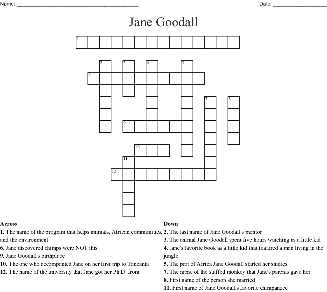 Jane Goodall Word Search