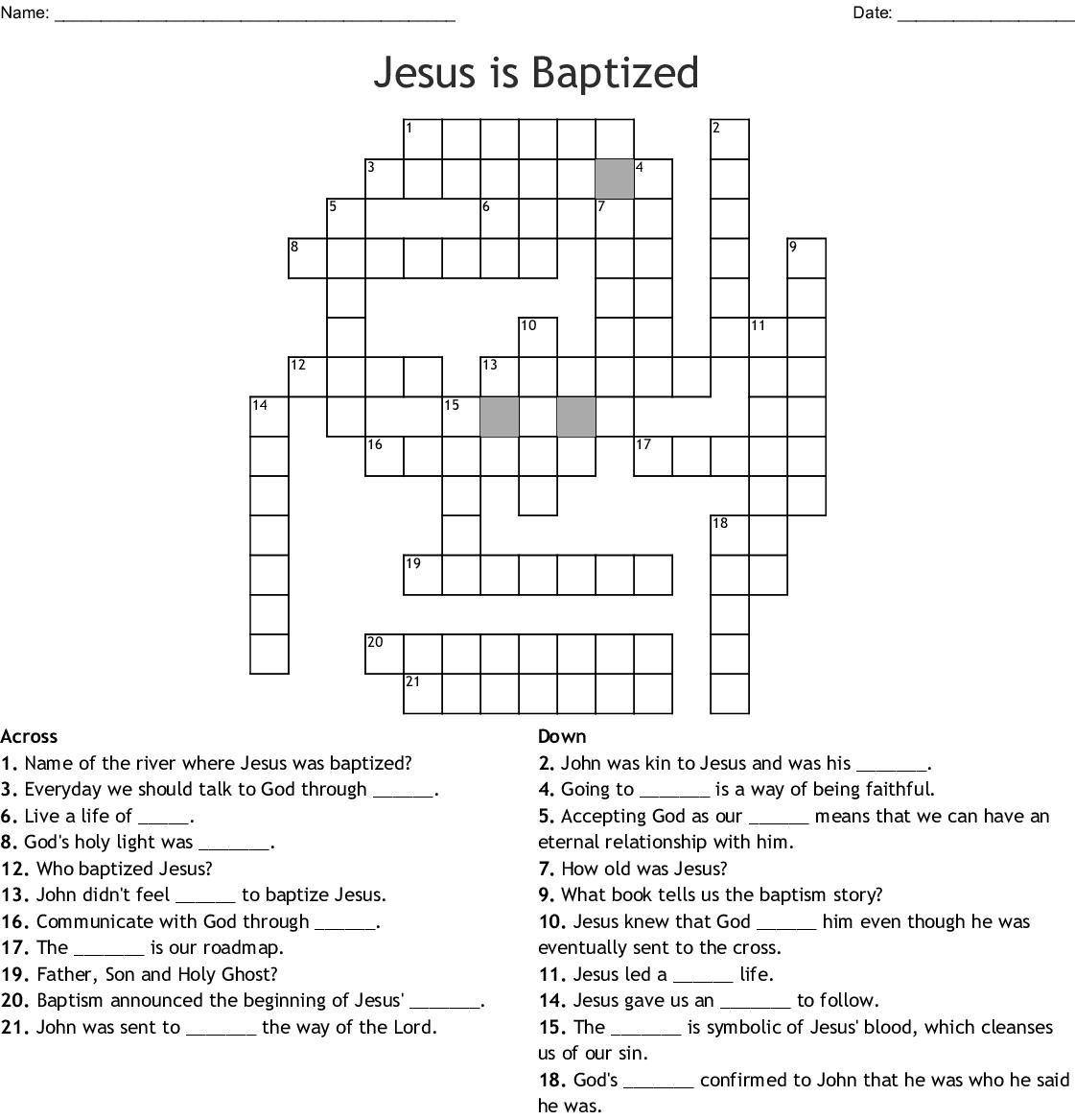hight resolution of jesus is baptized crossword