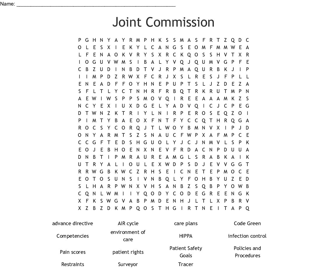 Joint Commission Challenge Word Search