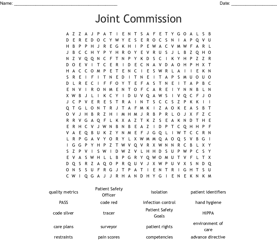 Joint Commission Word Search
