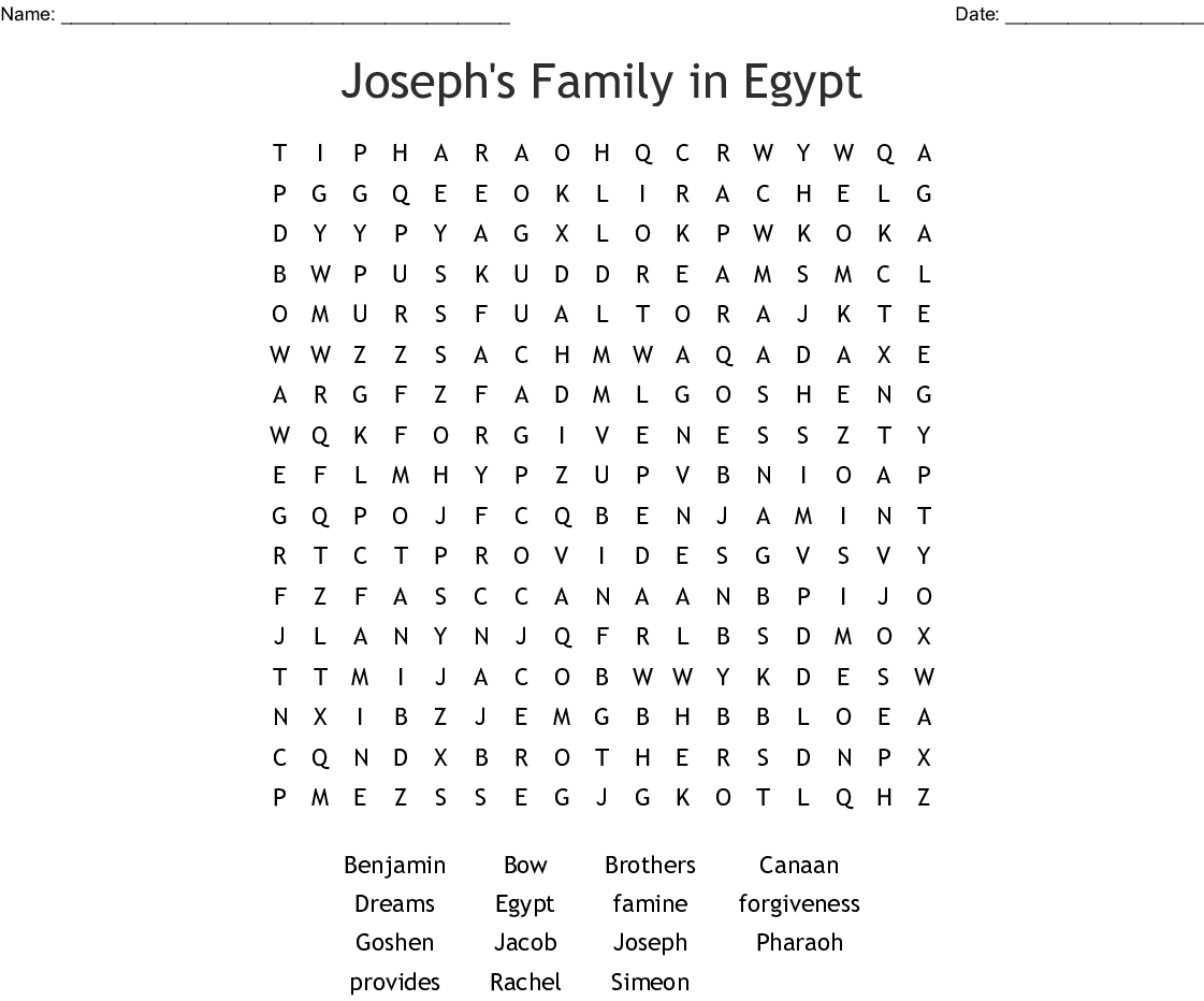Joseph Rules In Egypt Word Search