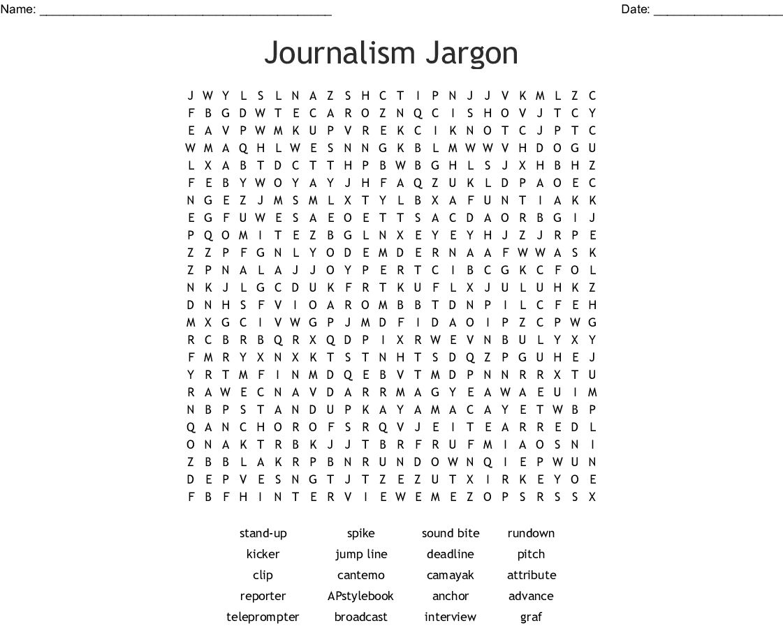 Journalism Vocabulary Word Search
