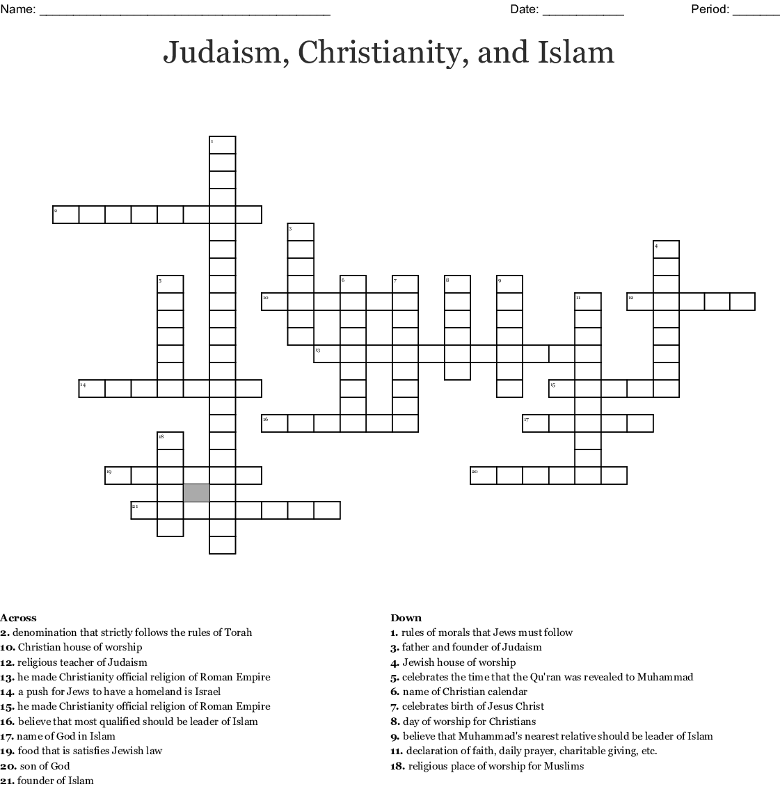 Islam Crossword