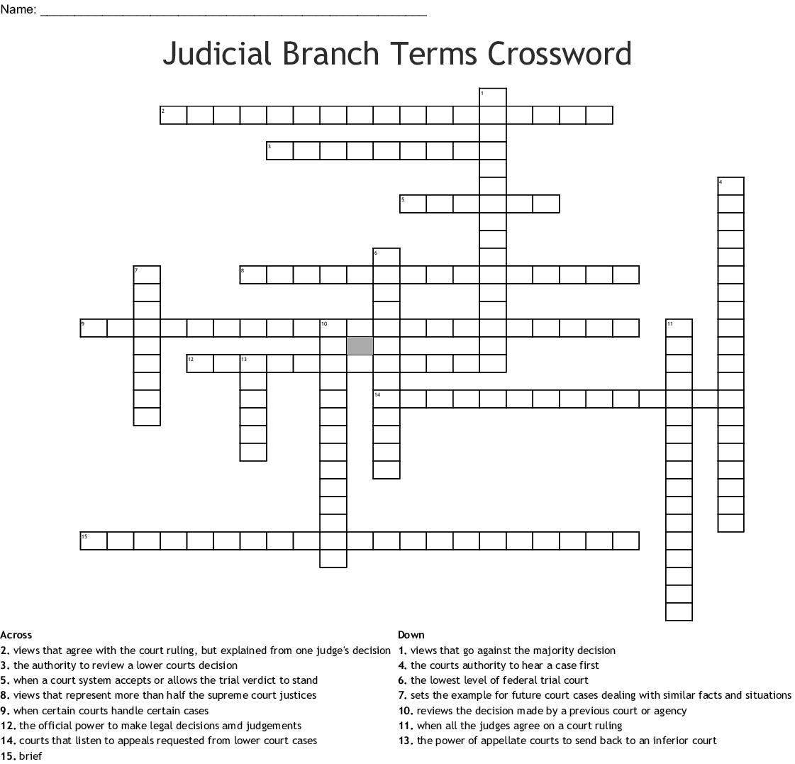 Judicial Branch Key Terms Crossword