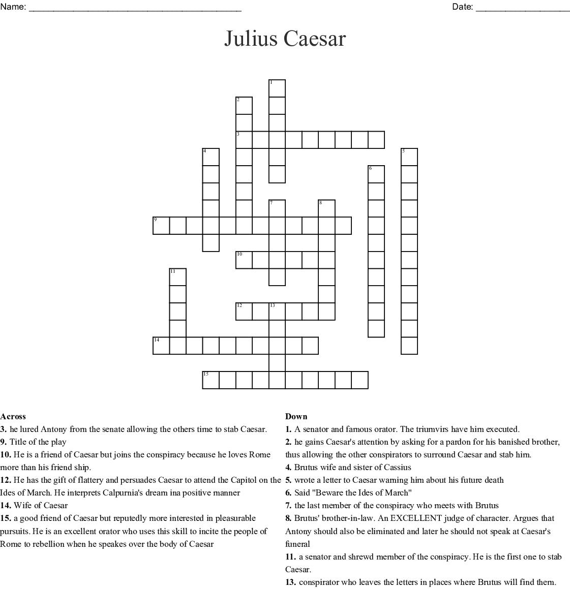 Julius Caesar Acts 1 5 Crossword