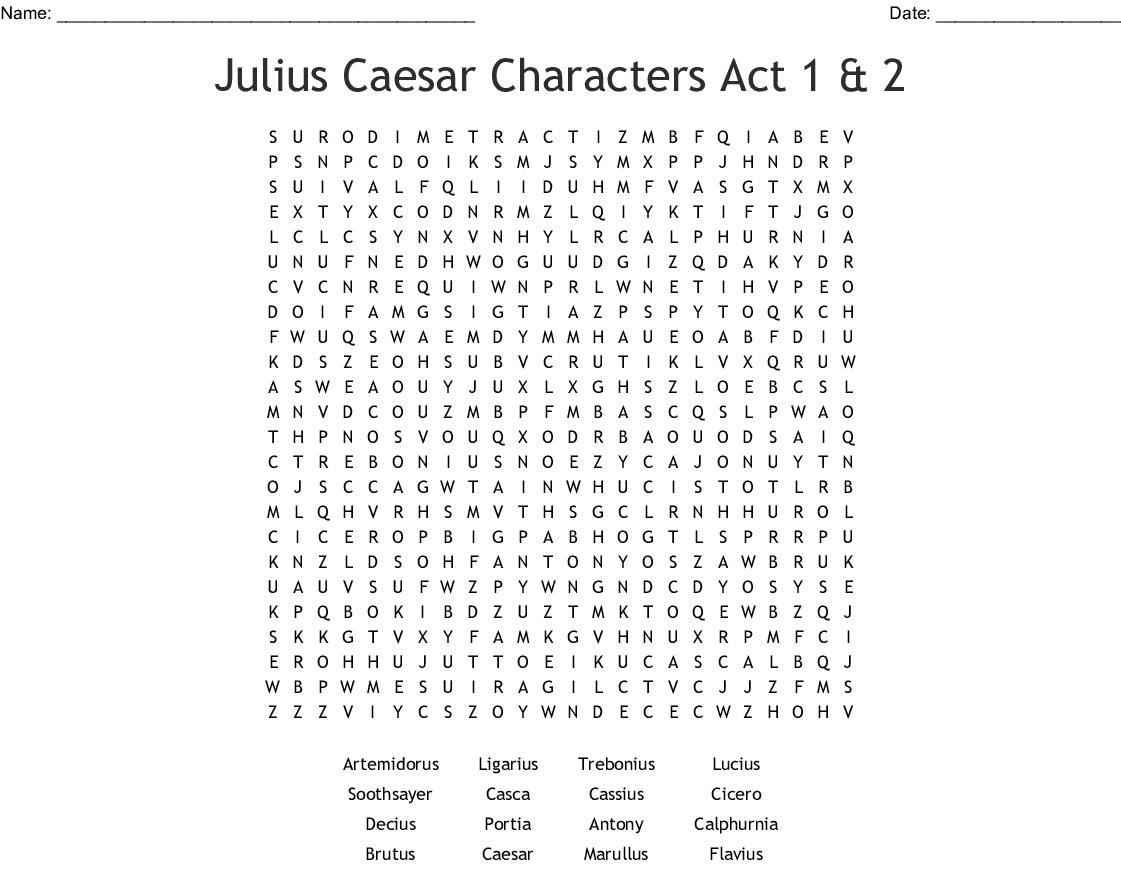 Julius Caesar Characters Act 1 Amp 2 Word Search