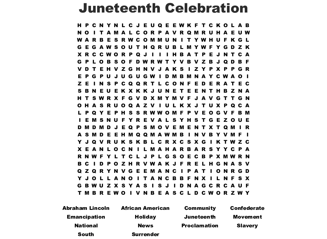 Juneteenth Celebration Word Search