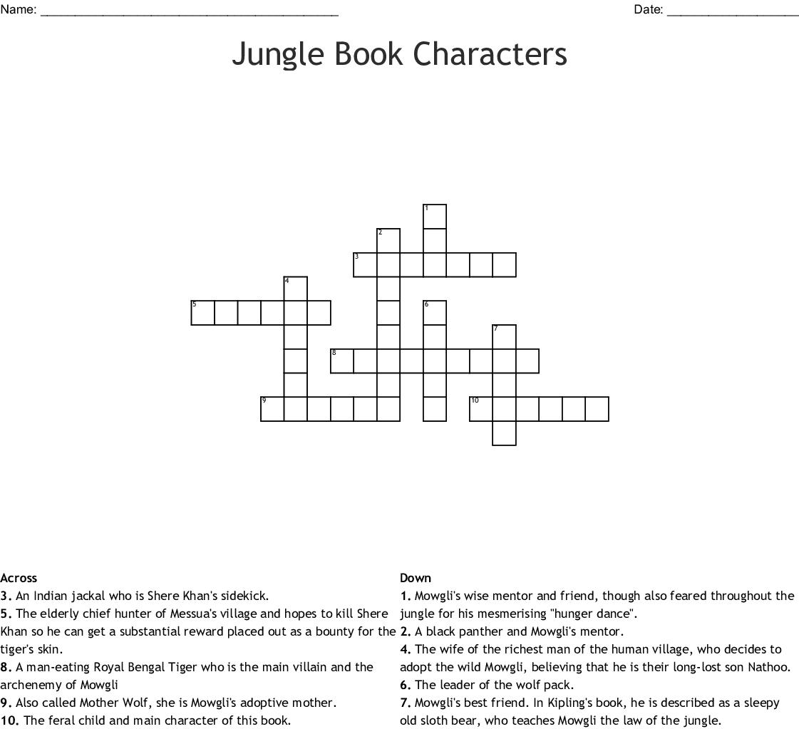 The Jungle Book By Rudyard Kipling Word Search