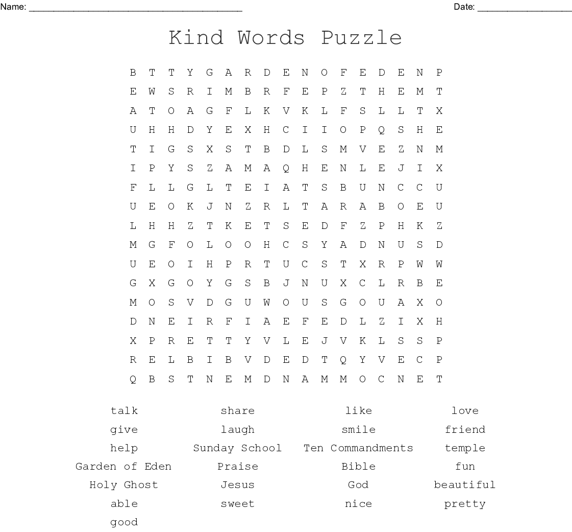 Kind Words Puzzle Word Search