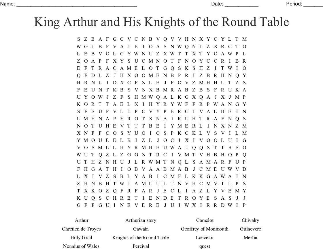 King Arthur Word Search