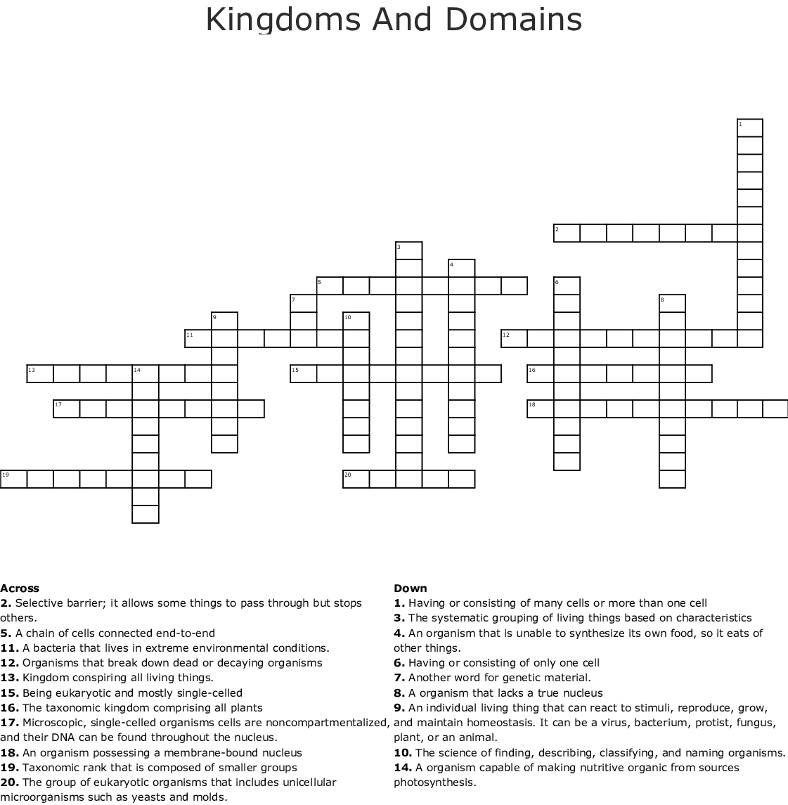 Kingdoms Crossword