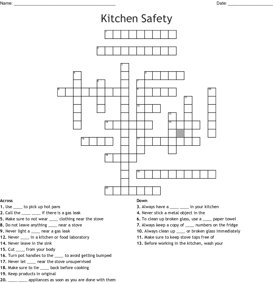 Personal Hygiene Crossword